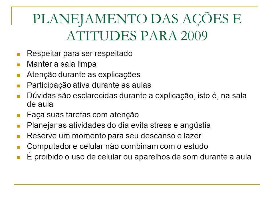 PLANEJAMENTO DAS AÇÕES E ATITUDES PARA 2009