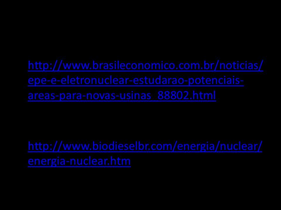 BIBLIOGRAFIA http://www.brasileconomico.com.br/noticias/epe-e-eletronuclear-estudarao-potenciais-areas-para-novas-usinas_88802.html.