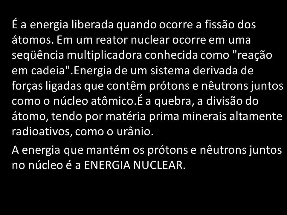 É a energia liberada quando ocorre a fissão dos átomos