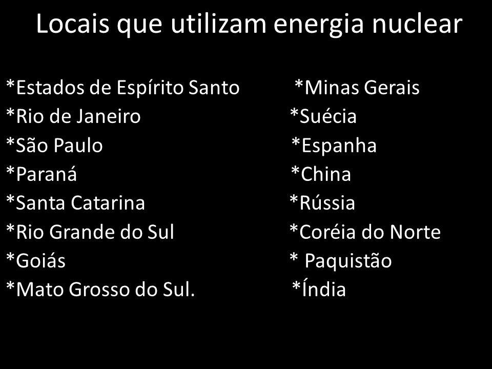 Locais que utilizam energia nuclear