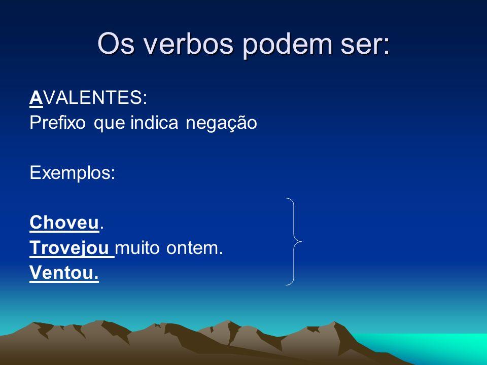 Os verbos podem ser: AVALENTES: Prefixo que indica negação Exemplos: Choveu.