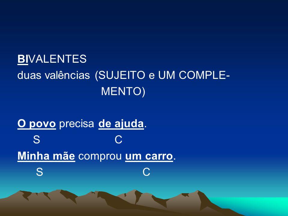 BIVALENTES duas valências (SUJEITO e UM COMPLE- MENTO) O povo precisa de ajuda.