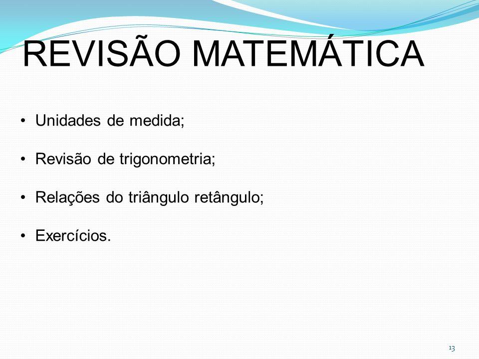REVISÃO MATEMÁTICA Unidades de medida; Revisão de trigonometria;