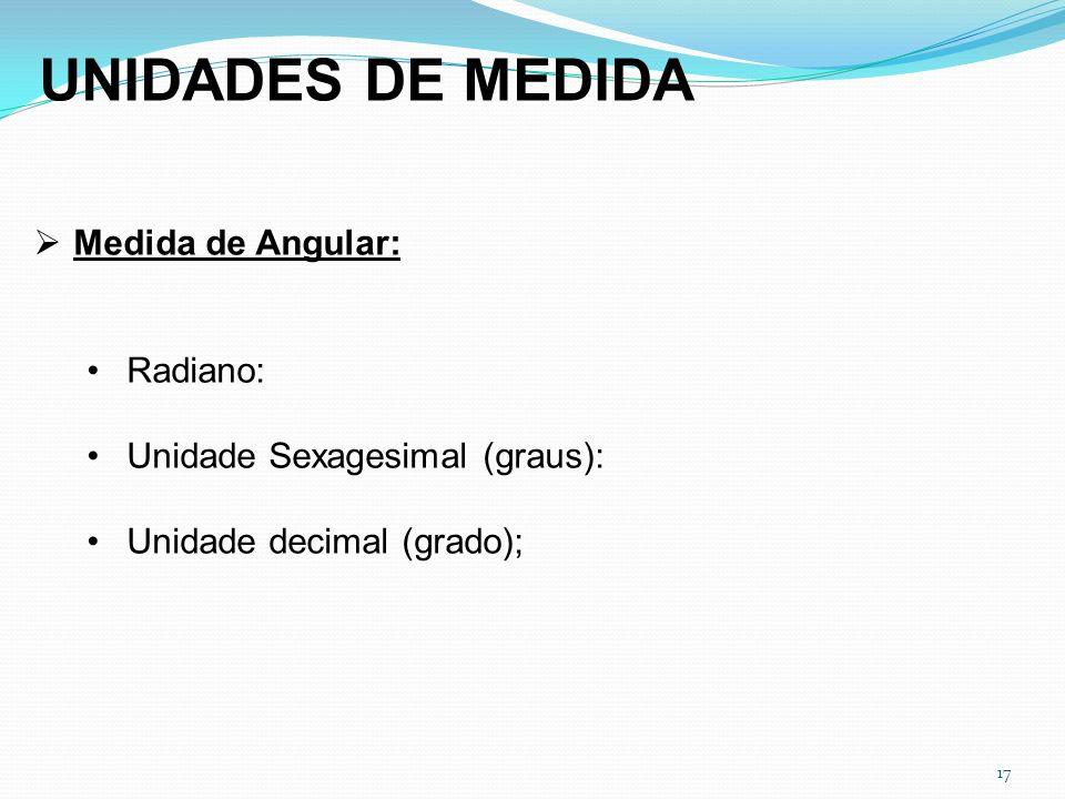 UNIDADES DE MEDIDA Medida de Angular: Radiano: