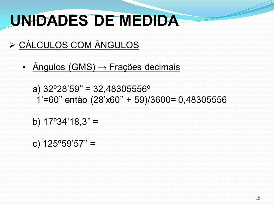 UNIDADES DE MEDIDA CÁLCULOS COM ÂNGULOS