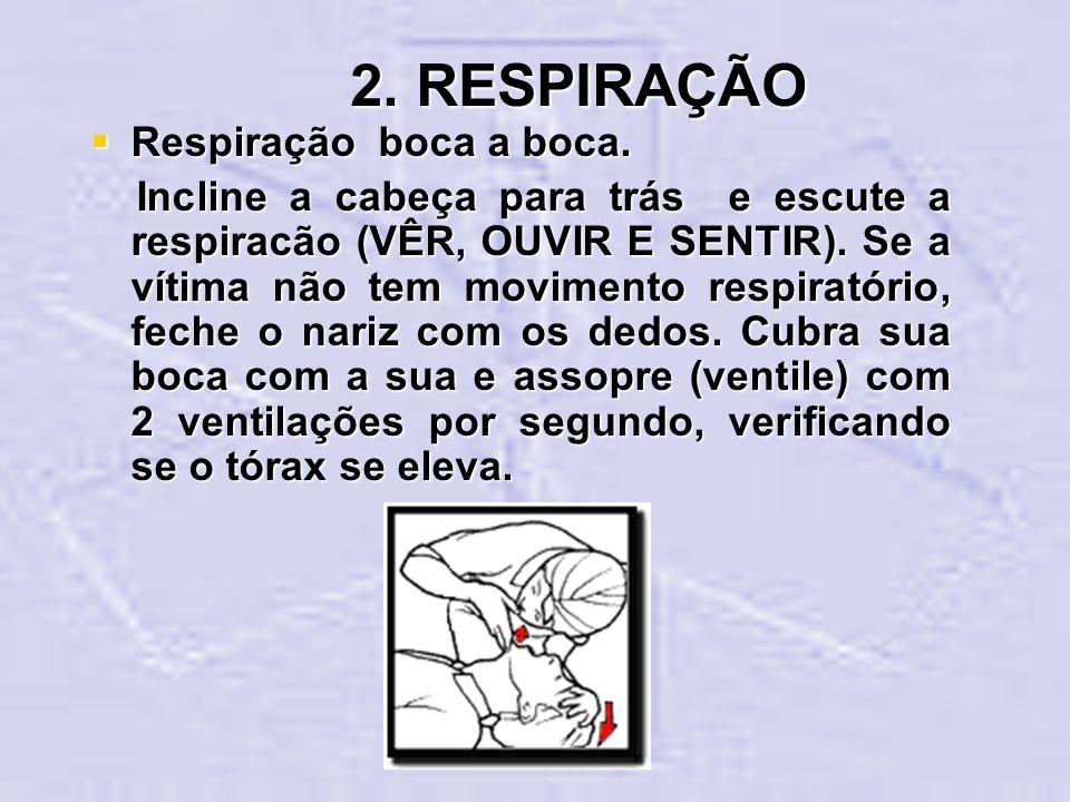 2. RESPIRAÇÃO Respiração boca a boca.