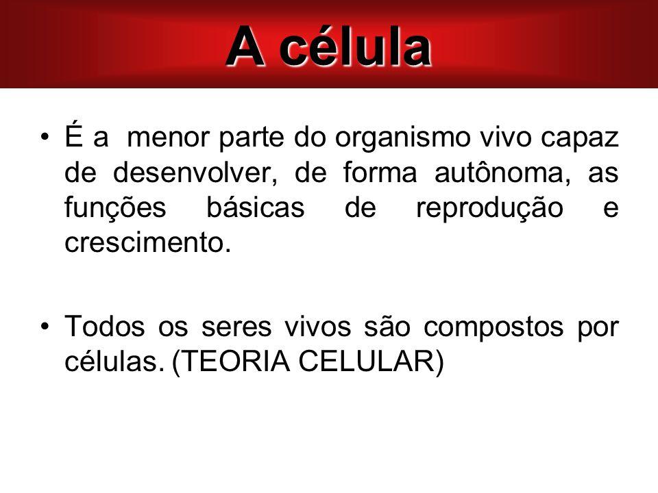 A célula A CÉLULA. É a menor parte do organismo vivo capaz de desenvolver, de forma autônoma, as funções básicas de reprodução e crescimento.