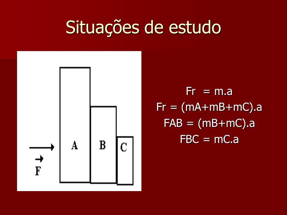 Situações de estudo Fr = m.a Fr = (mA+mB+mC).a FAB = (mB+mC).a