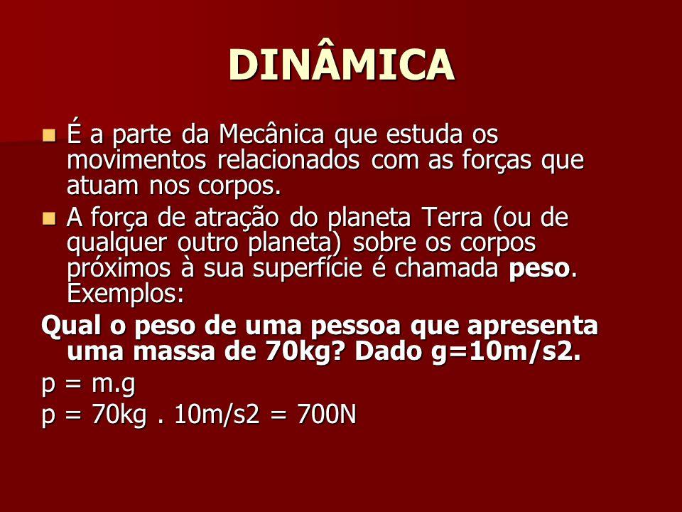 DINÂMICA É a parte da Mecânica que estuda os movimentos relacionados com as forças que atuam nos corpos.