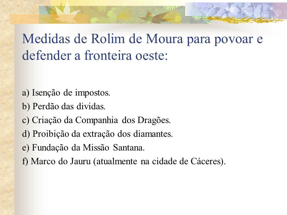 Medidas de Rolim de Moura para povoar e defender a fronteira oeste: