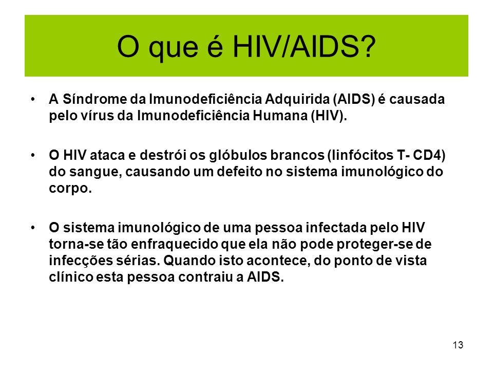 O que é HIV/AIDS A Síndrome da Imunodeficiência Adquirida (AIDS) é causada pelo vírus da Imunodeficiência Humana (HIV).