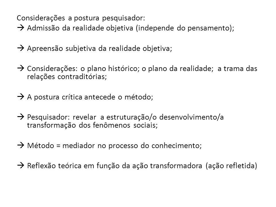 Considerações a postura pesquisador:
