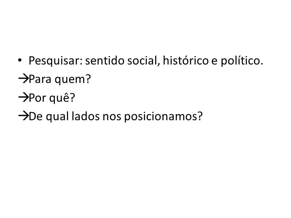 Pesquisar: sentido social, histórico e político.