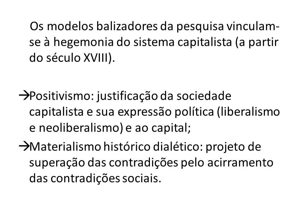 Os modelos balizadores da pesquisa vinculam-se à hegemonia do sistema capitalista (a partir do século XVIII).