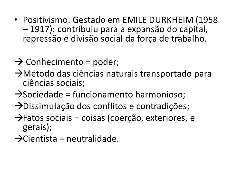 Positivismo: Gestado em EMILE DURKHEIM (1958 – 1917): contribuiu para a expansão do capital, repressão e divisão social da força de trabalho.