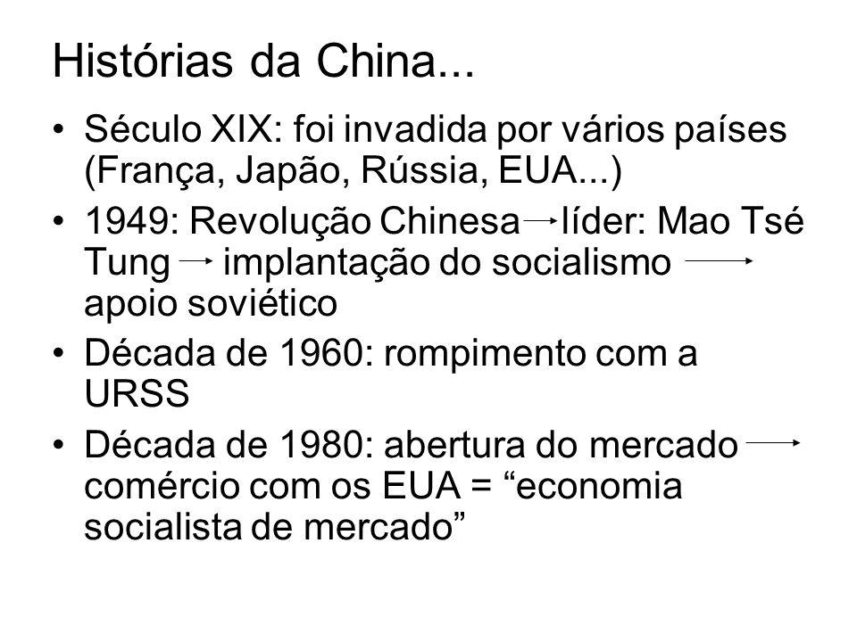 Histórias da China... Século XIX: foi invadida por vários países (França, Japão, Rússia, EUA...)