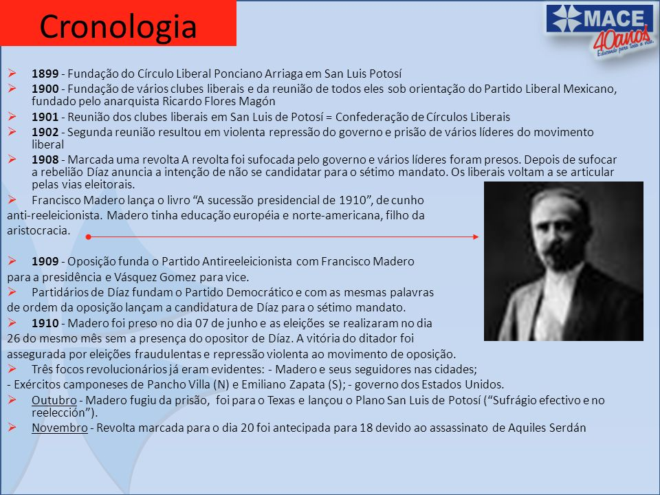Cronologia 1899 - Fundação do Círculo Liberal Ponciano Arriaga em San Luis Potosí.