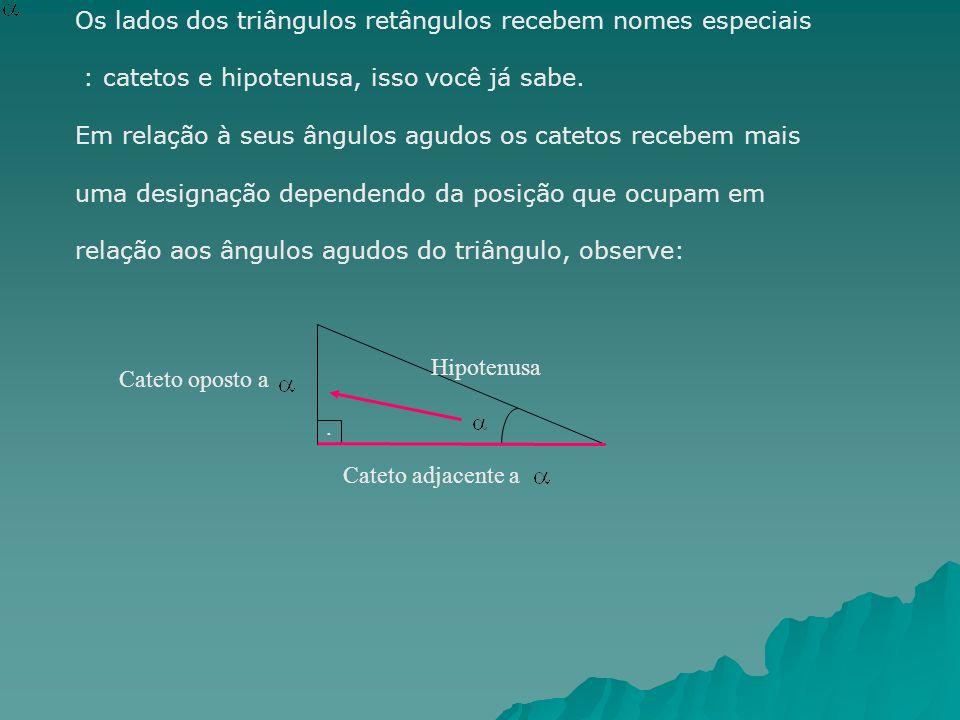 Os lados dos triângulos retângulos recebem nomes especiais