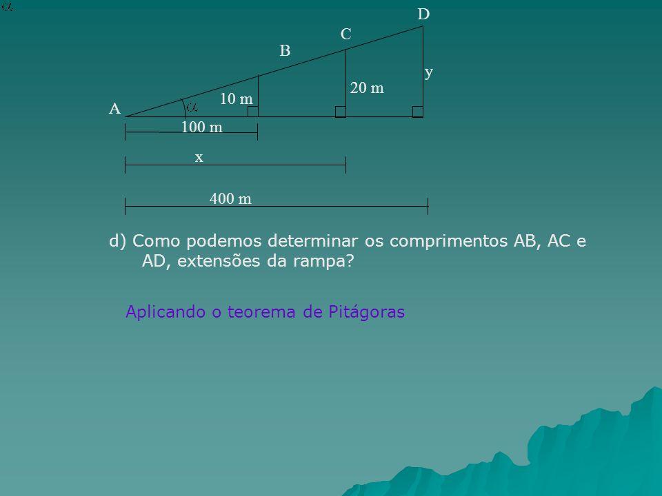 y 100 m. 10 m. 20 m. x. 400 m. A. B. C. D. d) Como podemos determinar os comprimentos AB, AC e AD, extensões da rampa
