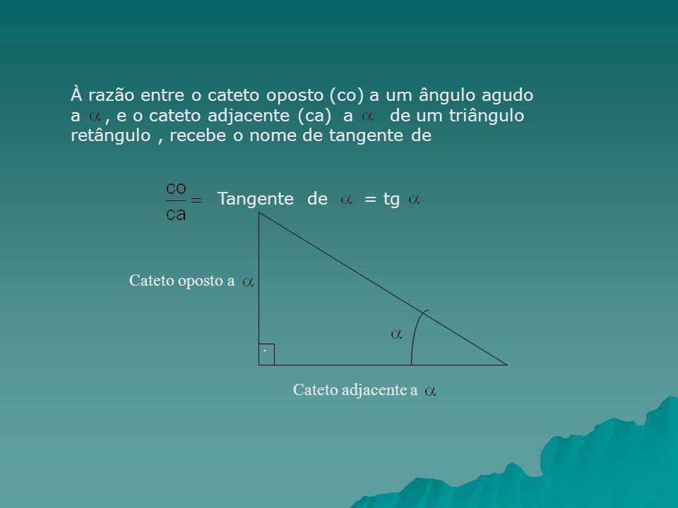 À razão entre o cateto oposto (co) a um ângulo agudo a , e o cateto adjacente (ca) a de um triângulo retângulo , recebe o nome de tangente de