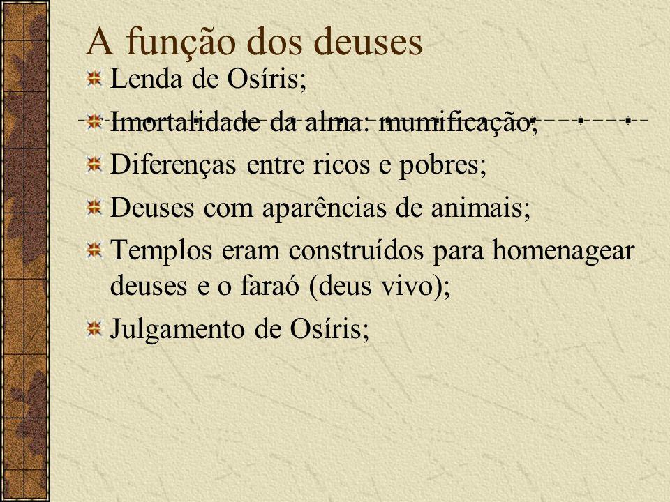 A função dos deuses Lenda de Osíris;