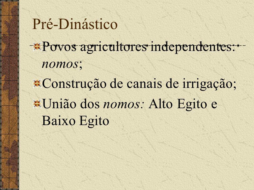Pré-Dinástico Povos agricultores independentes: nomos;