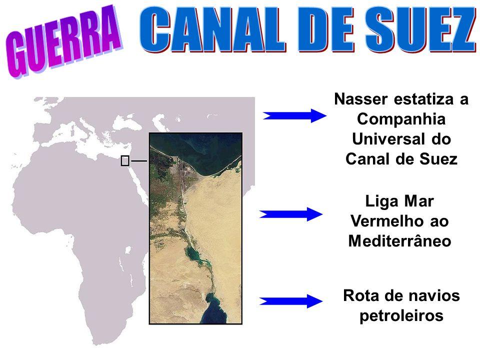 GUERRA CANAL DE SUEZ. Nasser estatiza a Companhia Universal do Canal de Suez. Liga Mar Vermelho ao Mediterrâneo.
