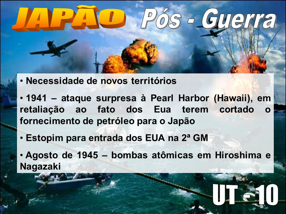 JAPÃO Pós - Guerra UT - 10 Necessidade de novos territórios
