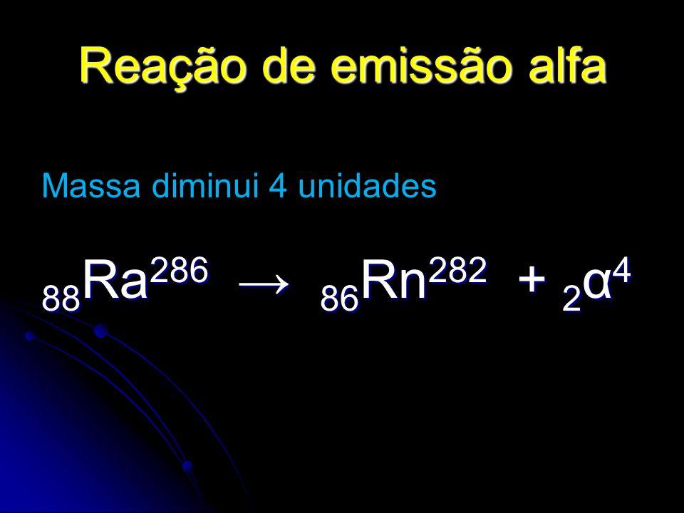 88Ra286 → 86Rn282 + 2α4 Reação de emissão alfa