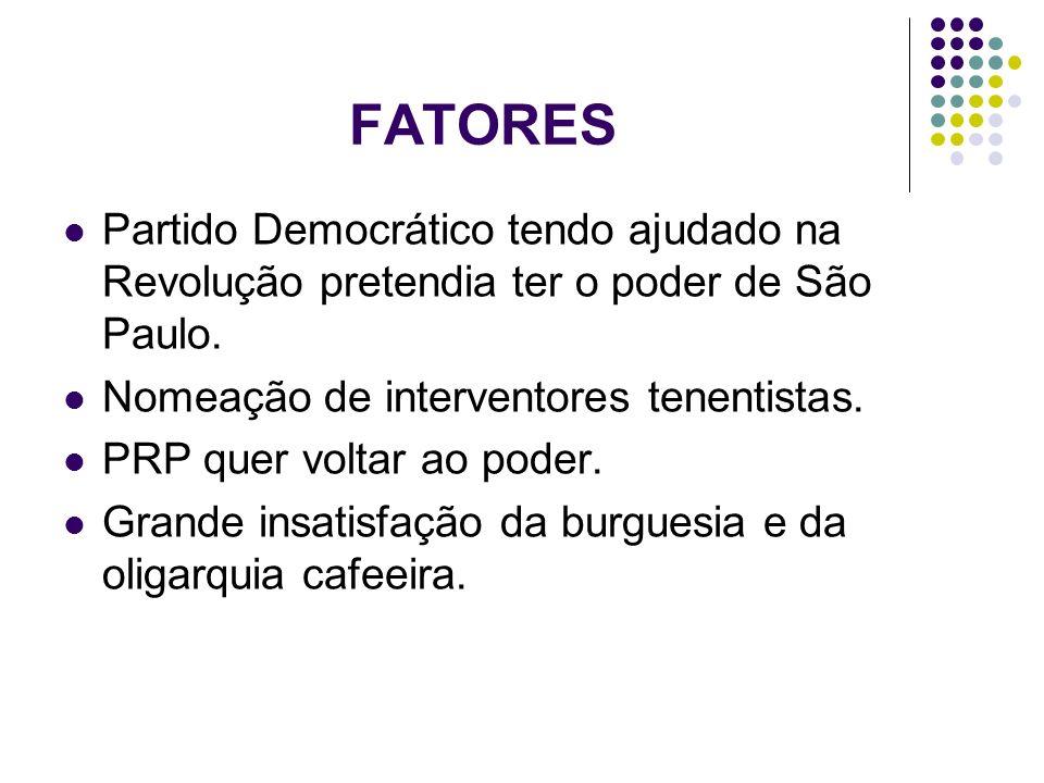 FATORES Partido Democrático tendo ajudado na Revolução pretendia ter o poder de São Paulo. Nomeação de interventores tenentistas.