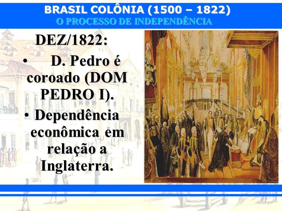 D. Pedro é coroado (DOM PEDRO I).