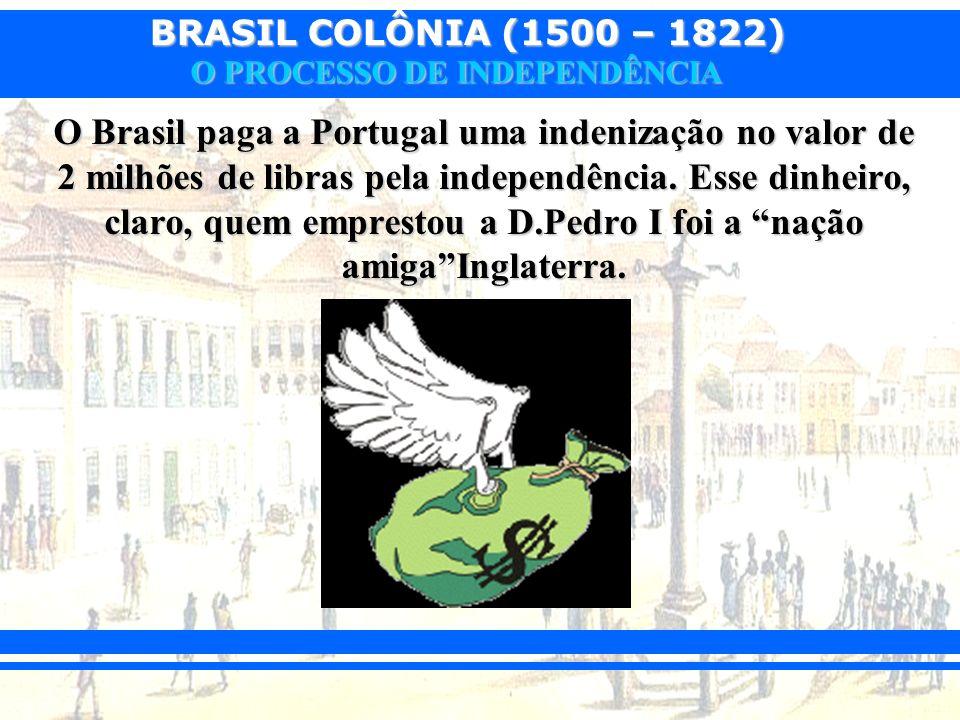 O Brasil paga a Portugal uma indenização no valor de 2 milhões de libras pela independência.
