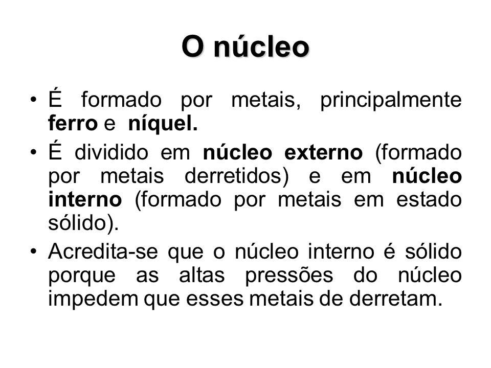 O núcleo É formado por metais, principalmente ferro e níquel.