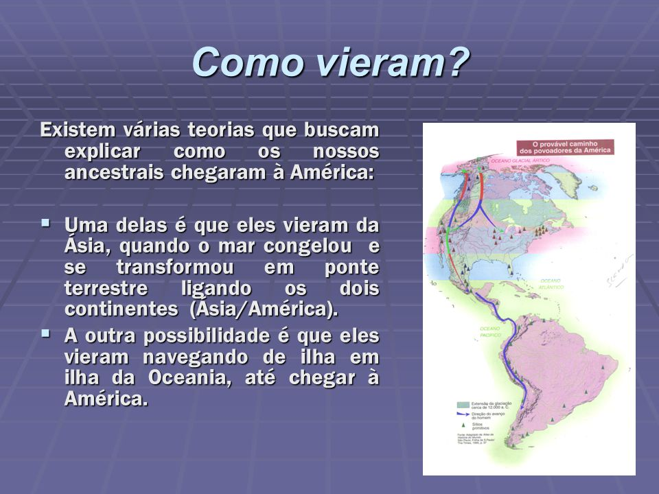 Como vieram Existem várias teorias que buscam explicar como os nossos ancestrais chegaram à América: