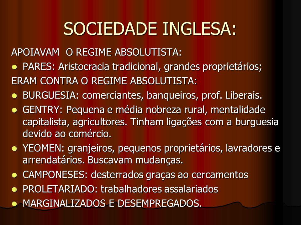 SOCIEDADE INGLESA: APOIAVAM O REGIME ABSOLUTISTA: