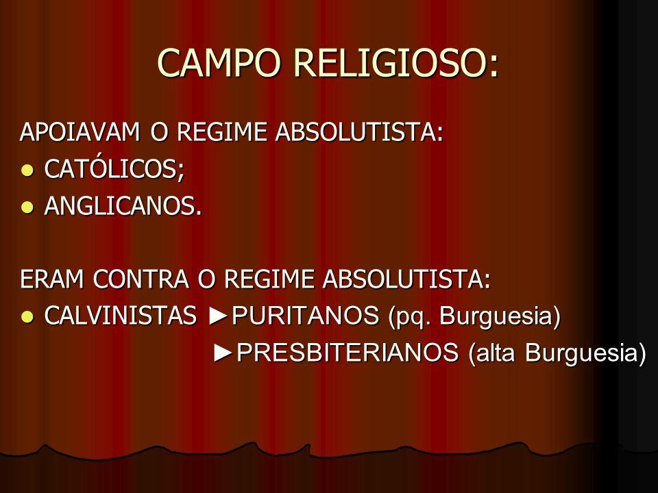 CAMPO RELIGIOSO: APOIAVAM O REGIME ABSOLUTISTA: CATÓLICOS; ANGLICANOS.