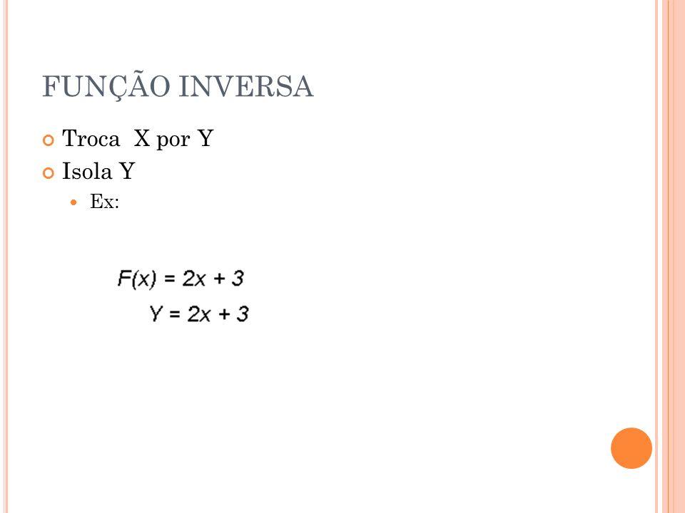 FUNÇÃO INVERSA Troca X por Y Isola Y Ex: