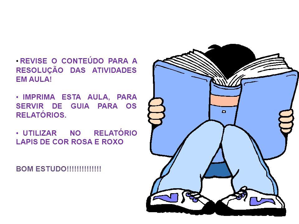 REVISE O CONTEÚDO PARA A RESOLUÇÃO DAS ATIVIDADES EM AULA!