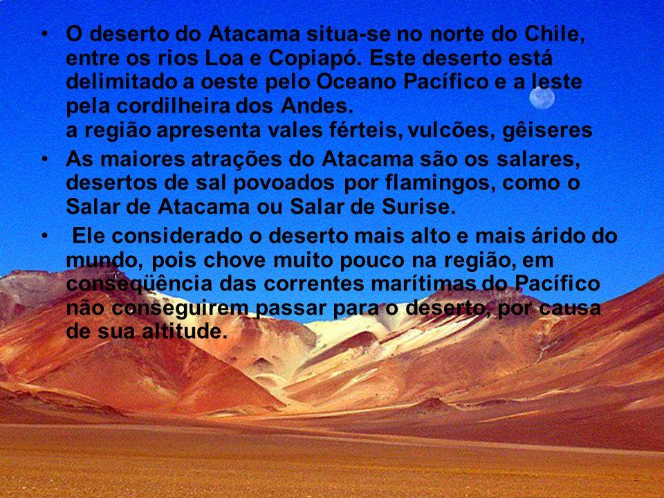 O deserto do Atacama situa-se no norte do Chile, entre os rios Loa e Copiapó. Este deserto está delimitado a oeste pelo Oceano Pacífico e a leste pela cordilheira dos Andes. a região apresenta vales férteis, vulcões, gêiseres