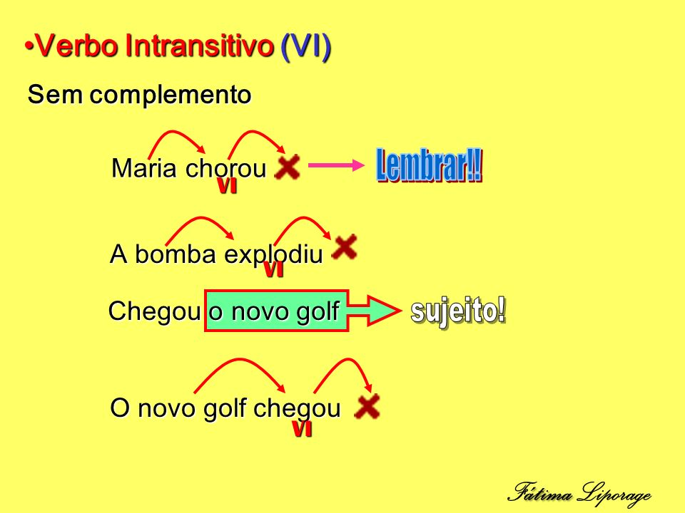 Verbo Intransitivo (VI)