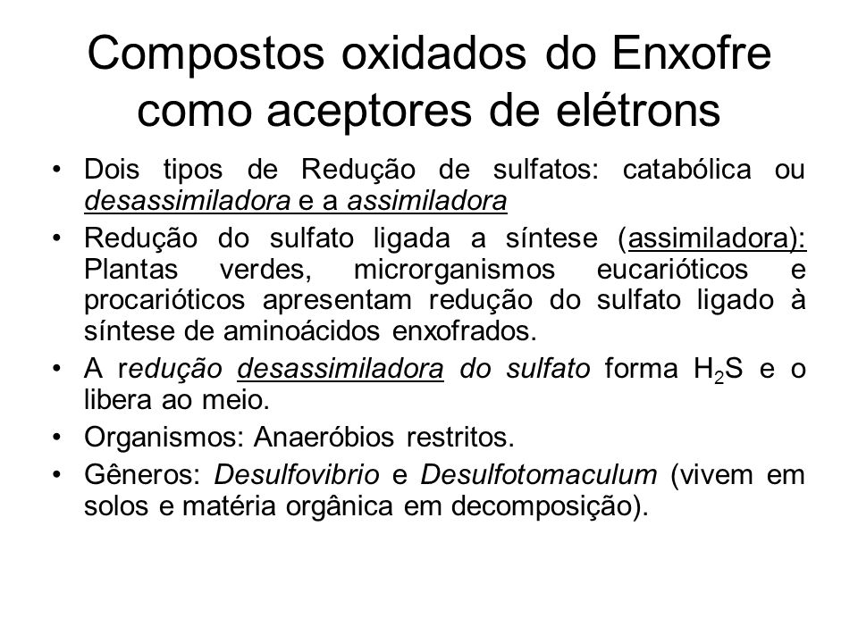 Compostos oxidados do Enxofre como aceptores de elétrons