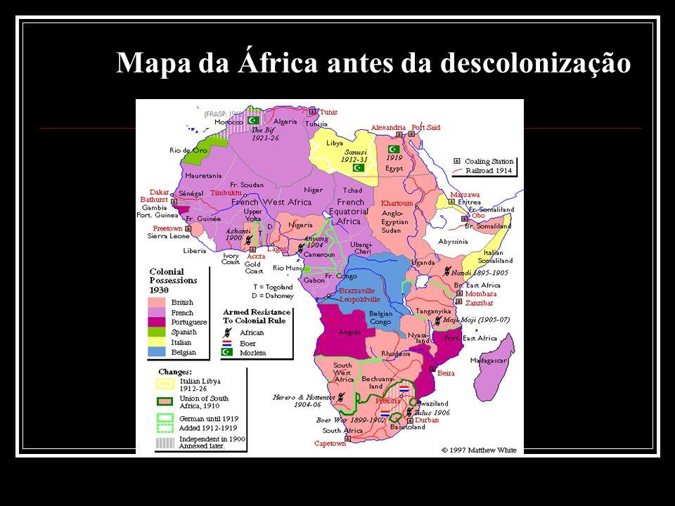 Mapa da África antes da descolonização