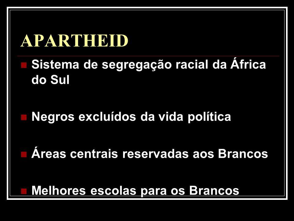 APARTHEID Sistema de segregação racial da África do Sul
