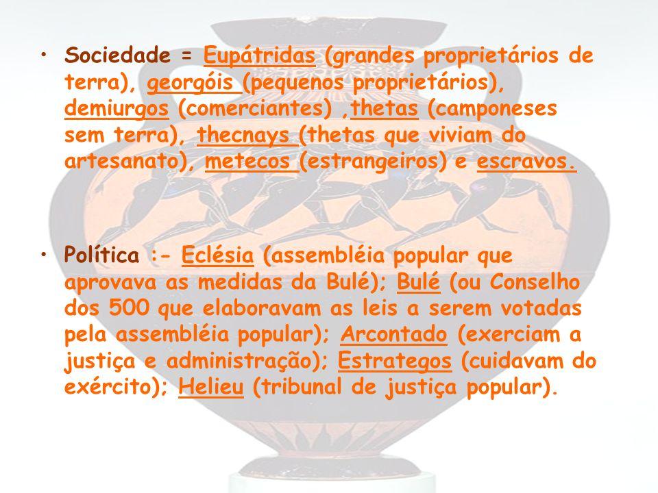 Sociedade = Eupátridas (grandes proprietários de terra), georgóis (pequenos proprietários), demiurgos (comerciantes) ,thetas (camponeses sem terra), thecnays (thetas que viviam do artesanato), metecos (estrangeiros) e escravos.