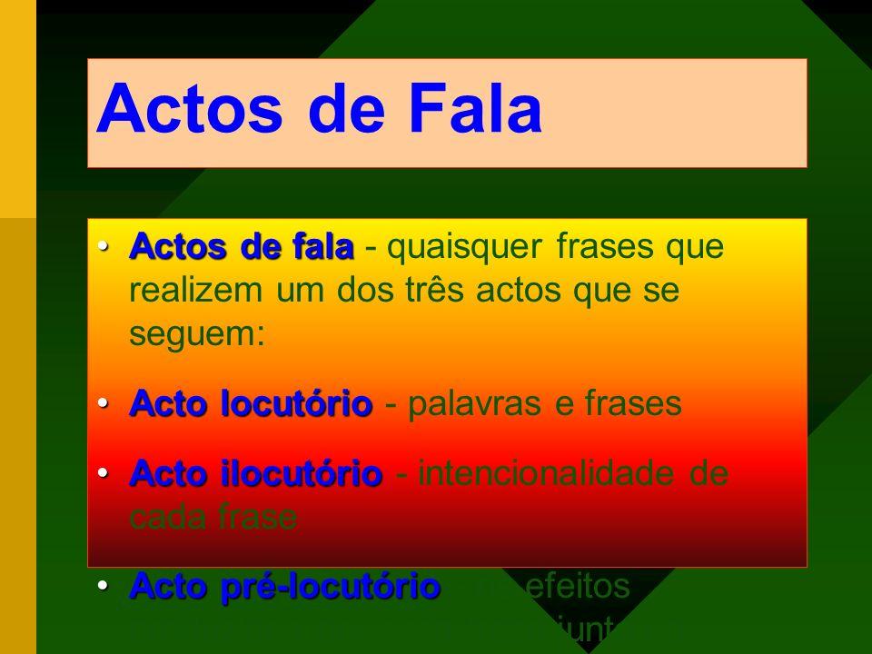 Actos de Fala Actos de fala - quaisquer frases que realizem um dos três actos que se seguem: Acto locutório - palavras e frases.