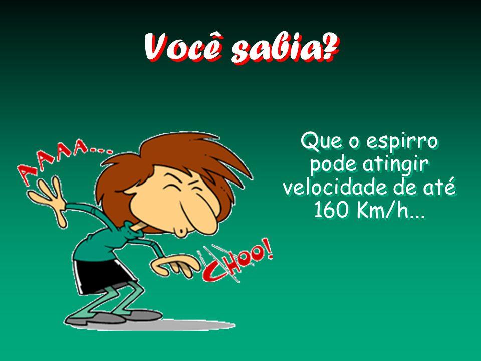 Que o espirro pode atingir velocidade de até 160 Km/h...
