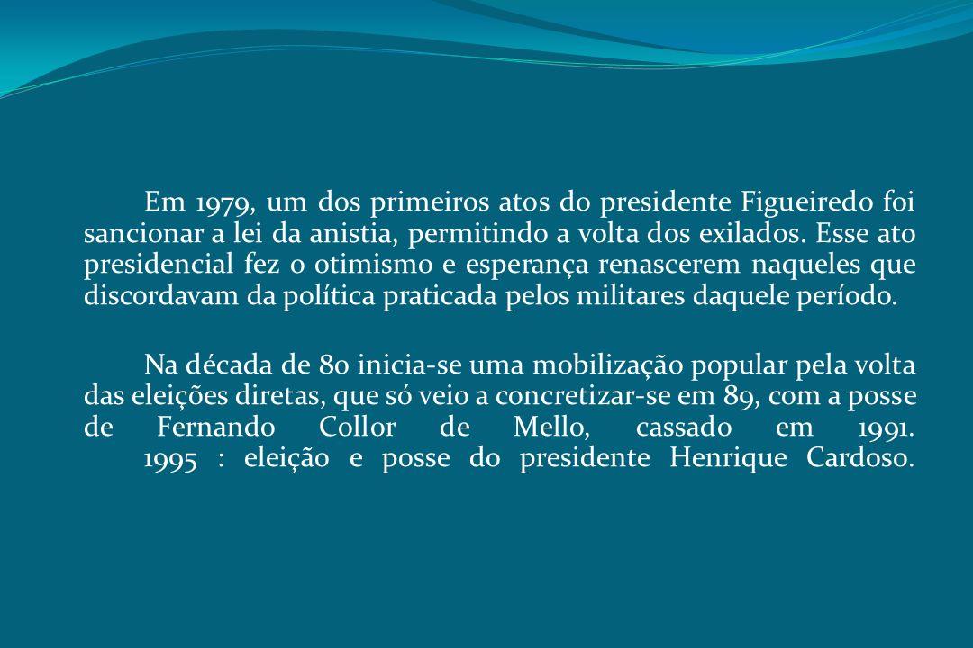 Em 1979, um dos primeiros atos do presidente Figueiredo foi sancionar a lei da anistia, permitindo a volta dos exilados.