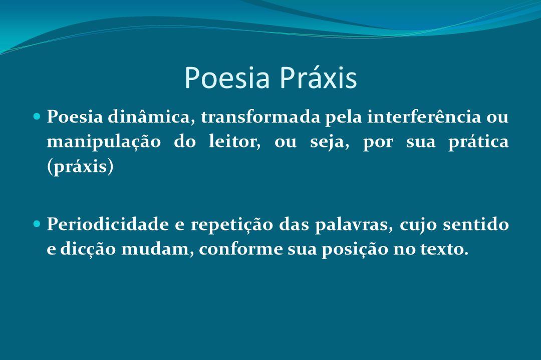 Poesia Práxis Poesia dinâmica, transformada pela interferência ou manipulação do leitor, ou seja, por sua prática (práxis)