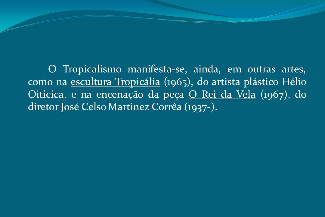 O Tropicalismo manifesta-se, ainda, em outras artes, como na escultura Tropicália (1965), do artista plástico Hélio Oiticica, e na encenação da peça O Rei da Vela (1967), do diretor José Celso Martinez Corrêa (1937-).