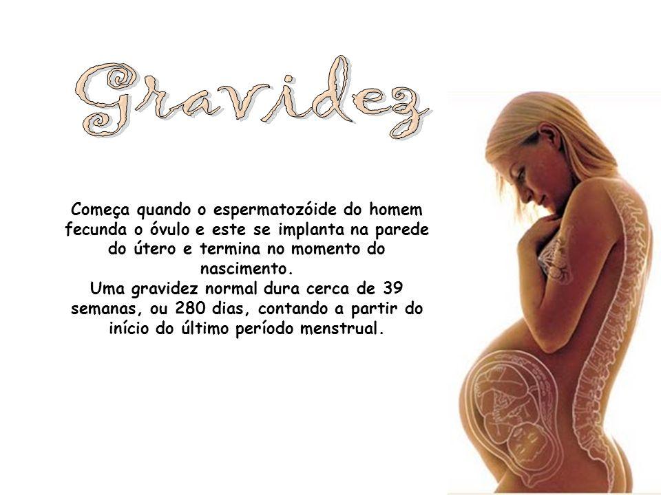 GravidezComeça quando o espermatozóide do homem fecunda o óvulo e este se implanta na parede do útero e termina no momento do nascimento.